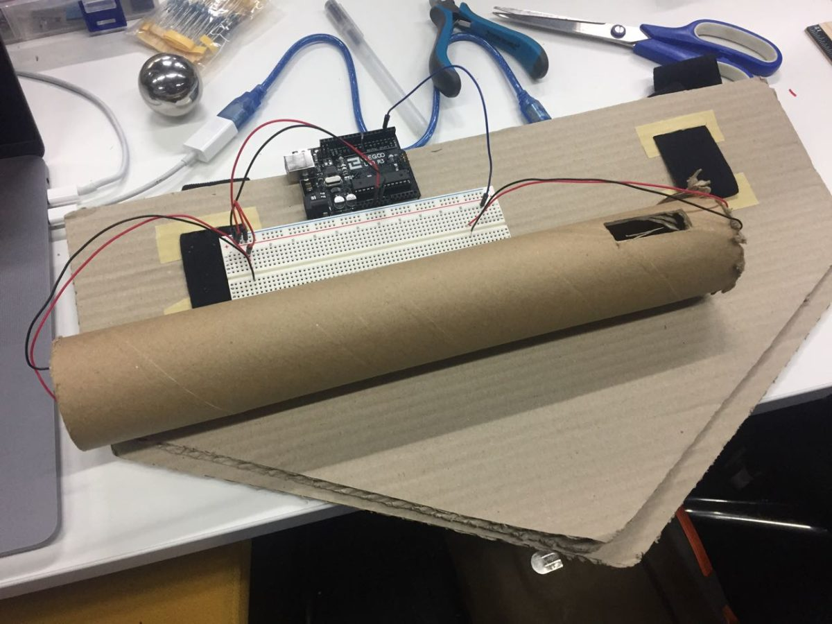First prototype for over-sized Arduino-powered tilt switch