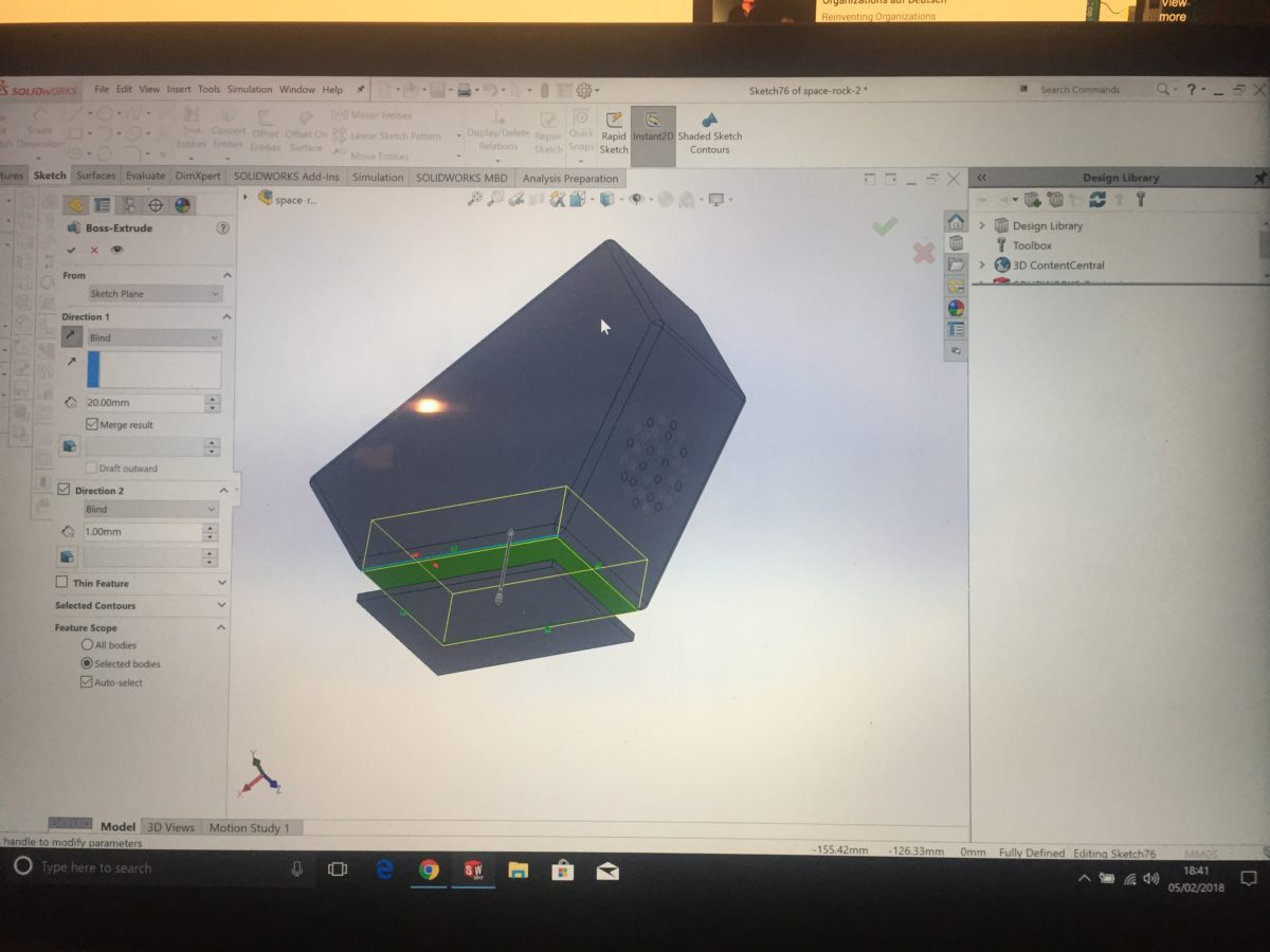 Current state of play – Space Rock 3D model in Solidworks